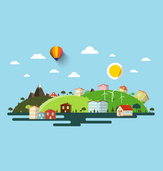 abstract flat design natural scene town or vector image