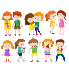 boys and girls doing different things vector image vector image