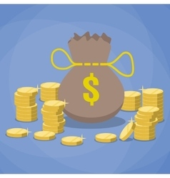 money bag and stacks of gold coins vector image