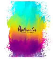 Rainbow color watercolor splash stain background vector