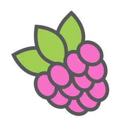 raspberry line icon fruit and diet vector image vector image