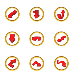 red arrow icons set cartoon style vector image