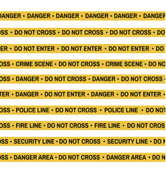 Set of crime scene yellow tape police line vector