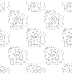 Beer mugs seamless contour vector image
