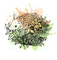 Black and white wild animal hedgehog abstract art vector image