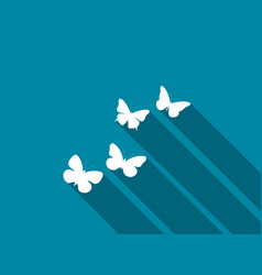 butterfly icon with long shadow vector image vector image