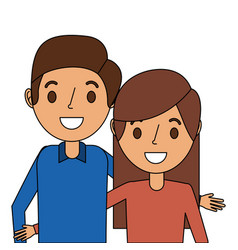 cute couple parents embracing portrait vector image