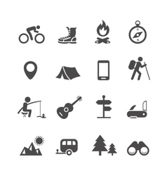 icons forest camping set with compass vector image