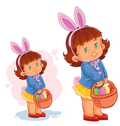 little girl with bunny ears and a basket vector image vector image