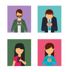 set of people using mobile phone avatars vector image