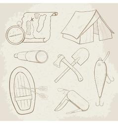 Camping hand drawn icons vector image