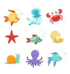 marine set with underwater plants and sea fishes vector image