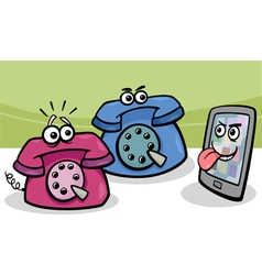 smartphone with retro phones cartoon vector image vector image