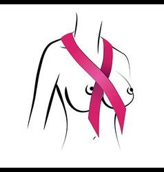Woman breast cancer ribbon symbol vector image