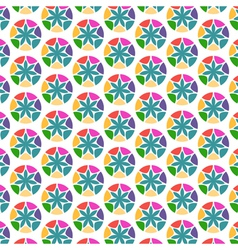 Flowers in circle frames abstract seamless pattern vector image