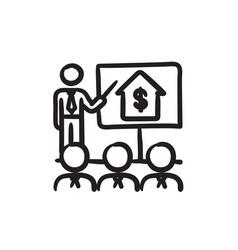 Real estate training sketch icon vector
