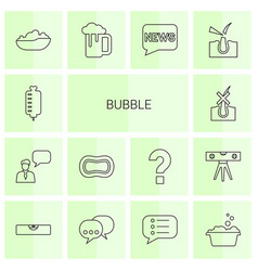 14 bubble icons vector image