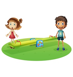A girl and a boy near the seesaw vector image
