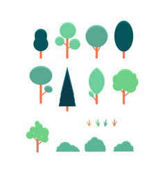 abstract trees bushes set for parks design vector image