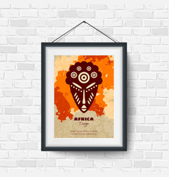African Mask Picture in a Black Frame vector