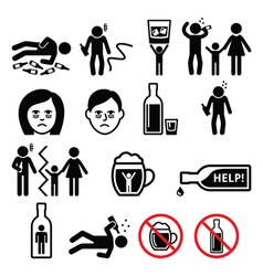 Alcoholism drunk man alcohol addiction icons vector image