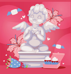 Angelic cupid sculpture background vector