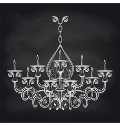 Antique gothic chandeliar sketch on chalkboard vector