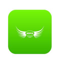 Aquila wing icon green vector