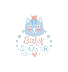 Baby Shower Invitation Design Template With Cat vector image