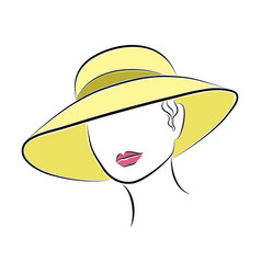 Beautiful elegant lady in the yellow beach hat vector