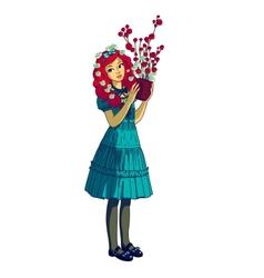 Beautiful girl with flower pot vector image