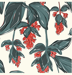 beautiful green leves and red flowers vintage vector image