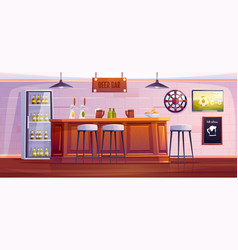beer bar or pub empty interior with wooden desk vector image