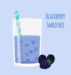 Blackberry smoothie vegetarian organic detox drink vector