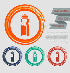 bottle of water icon on the red blue green orange vector image