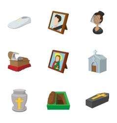 Burial icons set cartoon style vector