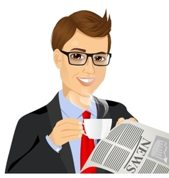 businessman drinking coffee and reading newspaper vector image
