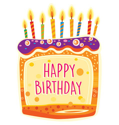 card with birthday cake and candles vector image