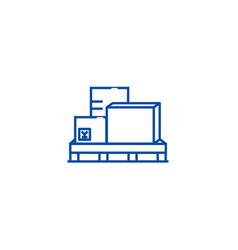 cargo boxes logistics line icon concept cargo vector image