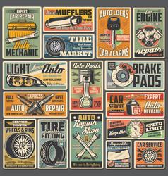 Cars repair service mechanic garage retro posters vector