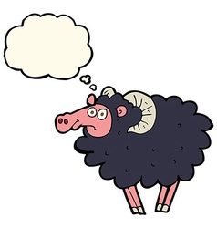 Cartoon black sheep with thought bubble vector