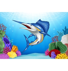 Cartoon Blue Marlin with Coral Reef Underwater vector image