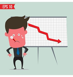 Cartoon business man present with red graph - vector image