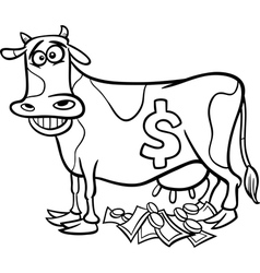 cash cow saying coloring page vector image