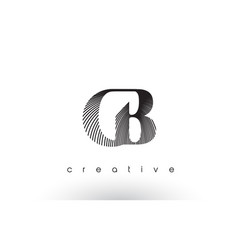 cb logo design with multiple lines and black and vector image