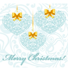 Christmas card with patterned hearts vector image