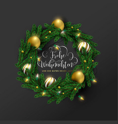 christmas new year german ornament wreath card vector image