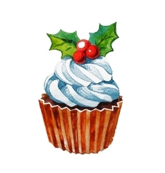 Christmas watercolor cupcake vector