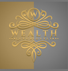 Classic luxurious letter w logo with embossed vector