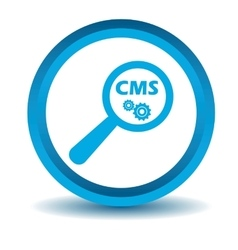 CMS search icon blue 3D vector